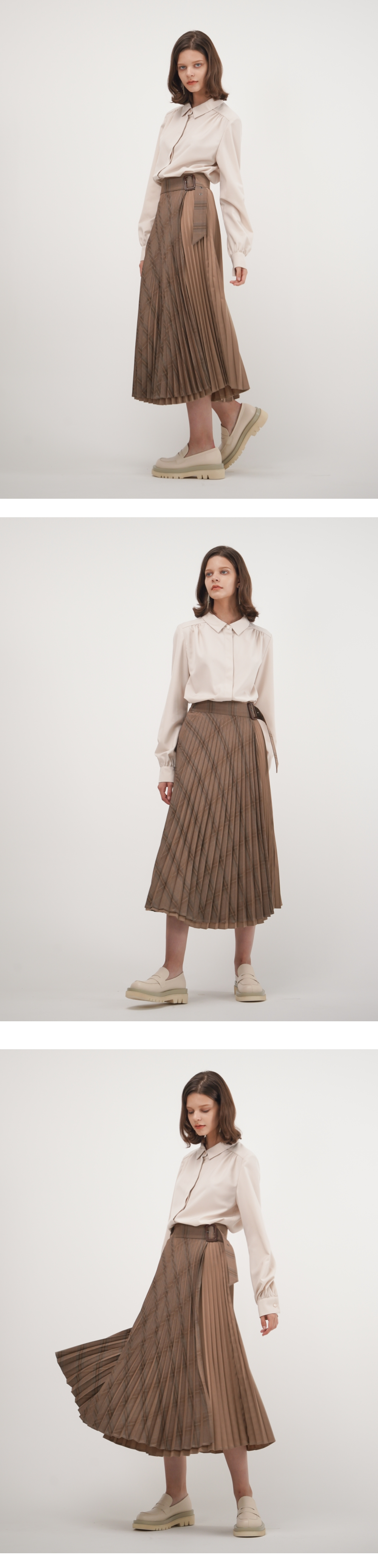 아쿠드(ACUD) Patched Pleated Wrap Skirt_Sand